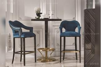 高端现代轻奢风家具实木五金黑檀木皮拼花休闲吧台吧椅