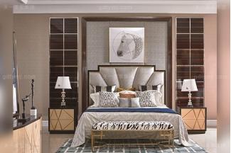 高端别墅轻奢家具实木卧室双人床枫影木皮拼花大床