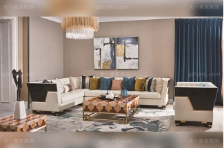 高档别墅轻奢转角沙发实木客厅真皮软包转角沙发组合