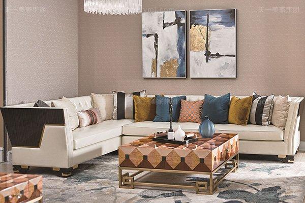 高端别墅轻奢转角沙发实木客厅真皮软包转角沙发组合转角沙发