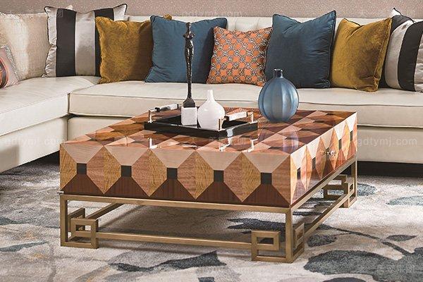 高端别墅轻奢转角沙发实木客厅真皮软包转角沙发组合茶几