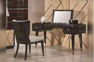 高端后现代88bf必发娱乐轻奢风格卧室家具实木枫影黑檀木皮拼花妆台妆椅组合