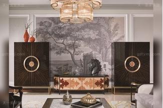 名贵别墅豪宅后现代轻奢风格客厅家具枫影木皮拼花电视柜组合