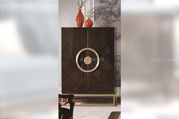 名贵别墅豪宅后现代轻奢风格客厅万博手机网页枫影木皮拼花电视柜组合装饰柜