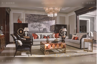 顶级别墅后现代轻奢风格品牌家具枫影黑檀木皮拼花客厅沙发组合