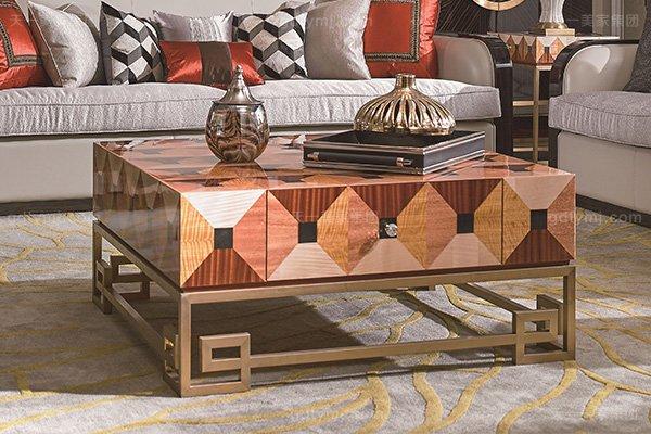 名贵88bf必发娱乐后现代轻奢风格品牌家具枫影黑檀木皮拼花客厅沙发组合茶几