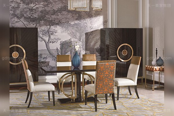 高端别墅后现代轻奢风格品牌家具黑檀木皮拼花餐厅家具餐桌椅组合