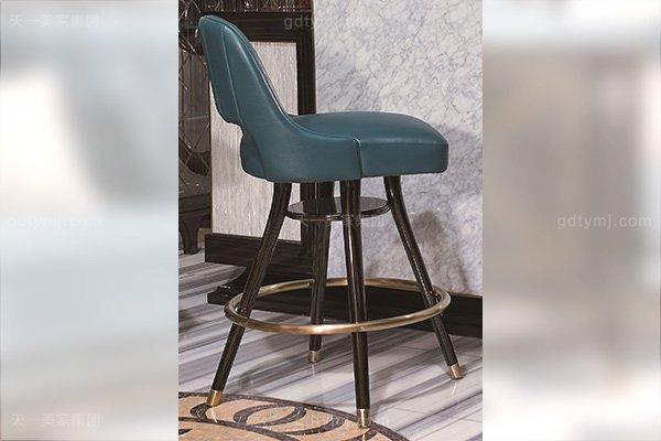 高端会所后现代轻奢风格家具品牌家具大理石吧台+真皮吧椅组合