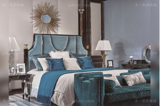 名贵豪宅轻奢家具品牌卧室真皮布艺软包双人床系列