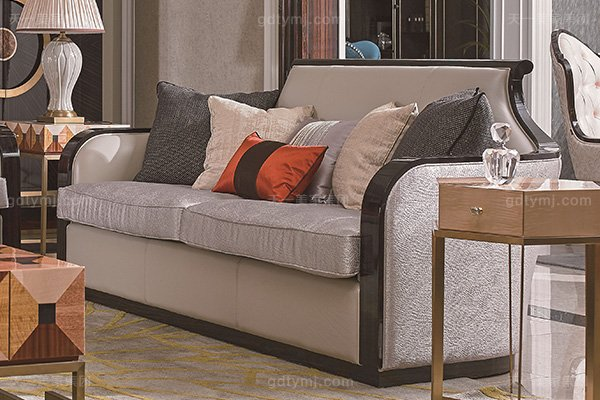 名贵别墅后现代轻奢风格品牌万博手机网页枫影黑檀木皮拼花客厅沙发组合二人位沙发