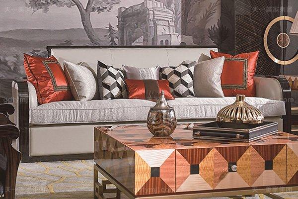 名贵别墅后现代轻奢风格品牌万博手机网页枫影黑檀木皮拼花客厅沙发组合三人位沙发