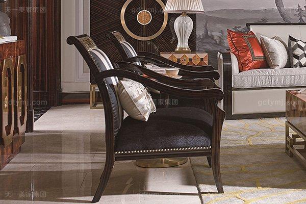 名贵别墅后现代轻奢风格品牌万博手机网页枫影黑檀木皮拼花客厅沙发组合单人位沙发