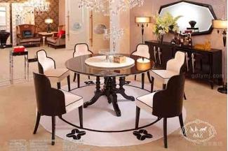 高端后现代轻奢家具客厅餐桌椅玫瑰玉餐黑檀饰面绒布餐椅