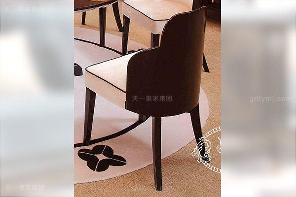 高端后现代轻奢万博手机网页客厅餐桌椅玫瑰玉餐黑檀饰面绒布餐椅餐椅