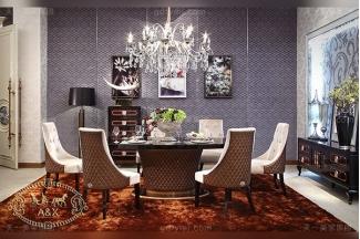 高端轻奢后现代风格客厅家具黑亮黑檀木皮餐桌+亲肤绒布餐椅