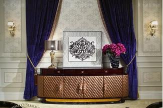 名贵后现代轻奢家具餐厅家具玫瑰金高黑亮黑檀木皮饰面备餐柜装饰柜