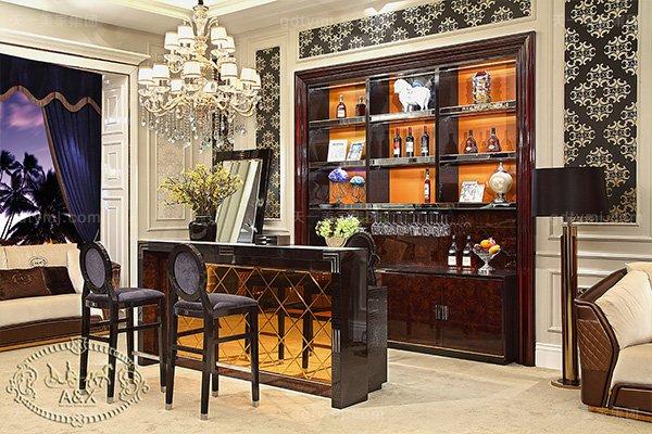 高端后现代轻奢家具黑鳄纹+黑牛角+桃木纹饰面吧台椅酒柜组合