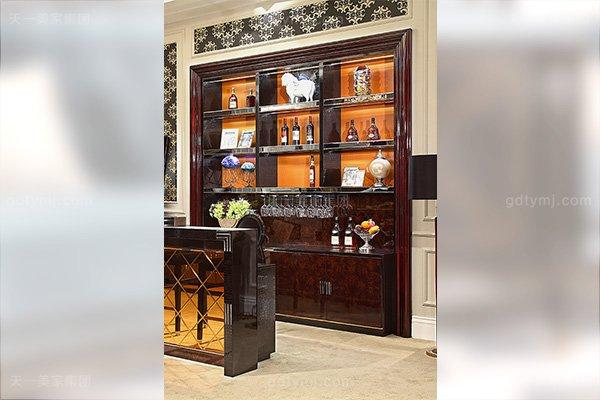 高端后现代轻奢家具黑鳄纹+黑牛角+桃木纹饰面吧台椅酒柜组合酒柜