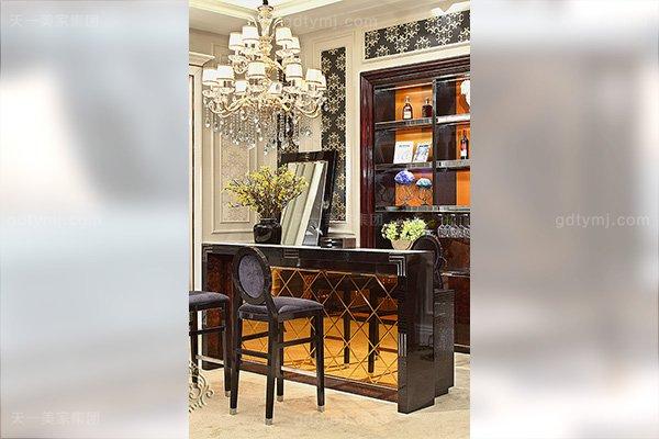 高端后现代轻奢家具黑鳄纹+黑牛角+桃木纹饰面吧台椅酒柜组合酒吧台