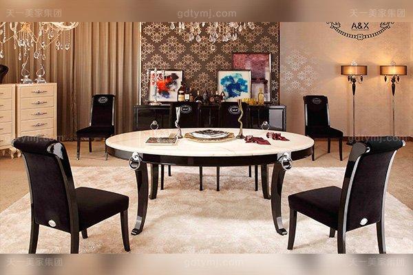 名贵轻奢家具后现代餐厅家具黑亮光脚玫瑰玉大理石面餐台绒布艺餐椅组合