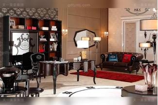 名贵奢华后现代轻奢书房万博手机网页桃木纹+黑檀木饰面+黑亮雕花脚书桌椅组合