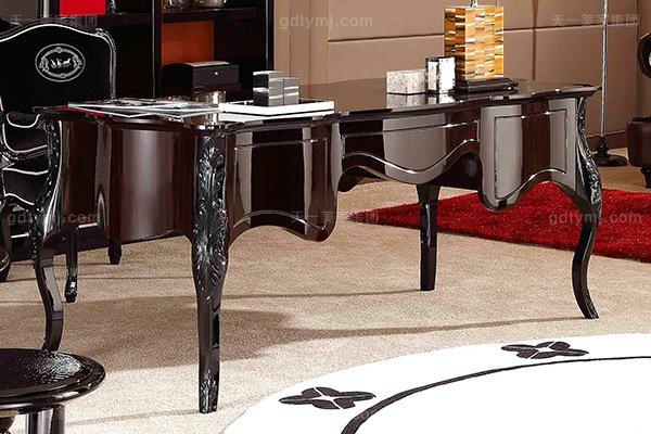 名贵奢华后现代轻奢书房万博手机网页桃木纹+黑檀木饰面+黑亮雕花脚书桌椅组合书桌