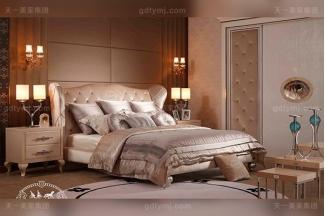 名贵奢华后现代轻奢卧室家具米白色绒布银箔水葫芦脚双人大床