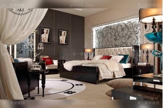 名贵奢华家具后现代轻奢品牌家具黑鳄纹牛角饰面米白色布拉水晶扣双人床