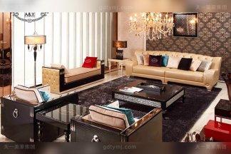 顶级奢侈家具后现代轻奢客厅家具黑鳄纹牛角饰面奶茶真皮沙发组合