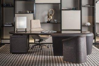 名贵奢华豪华家具品牌办公家具真皮书桌椅+书柜