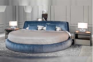 高端奢华奢华品牌万博手机网页卧室万博手机网页优质绒布艺圆形大床