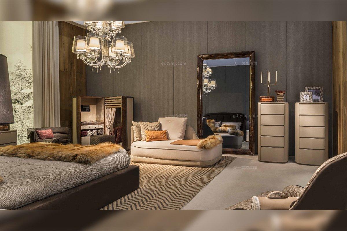 高端豪华奢华豪宅家具品牌卧室家具真皮贵妃椅+妆镜组合