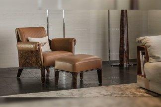 名贵奢华别墅豪宅品牌家具真皮咖啡色休闲椅