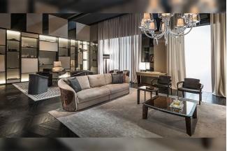 名贵意大利奢华豪宅万博手机网页品牌高弹海棉布艺软包三人位沙发