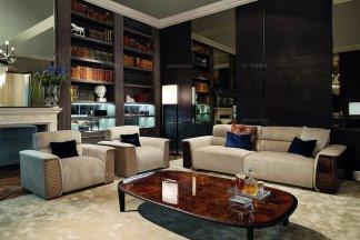 名贵奢华别墅豪宅万博手机网页品牌高密海绵优质布艺客厅沙发组合