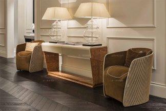 高端豪华别墅家具品牌棕色布艺休闲椅+装饰柜组合