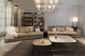 高档别墅豪宅奢华家具品牌高弹海棉优质真皮多人位转角沙发
