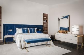 高端奢华奢华品牌家具卧室家具优质绒布艺双人床系列组合