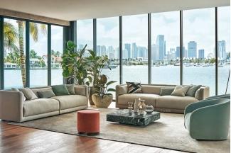 高端布艺别墅客厅沙发组合