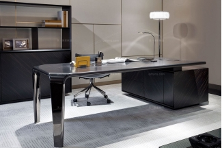 名贵奢华豪华家具品牌办公家具书桌椅+书柜场景