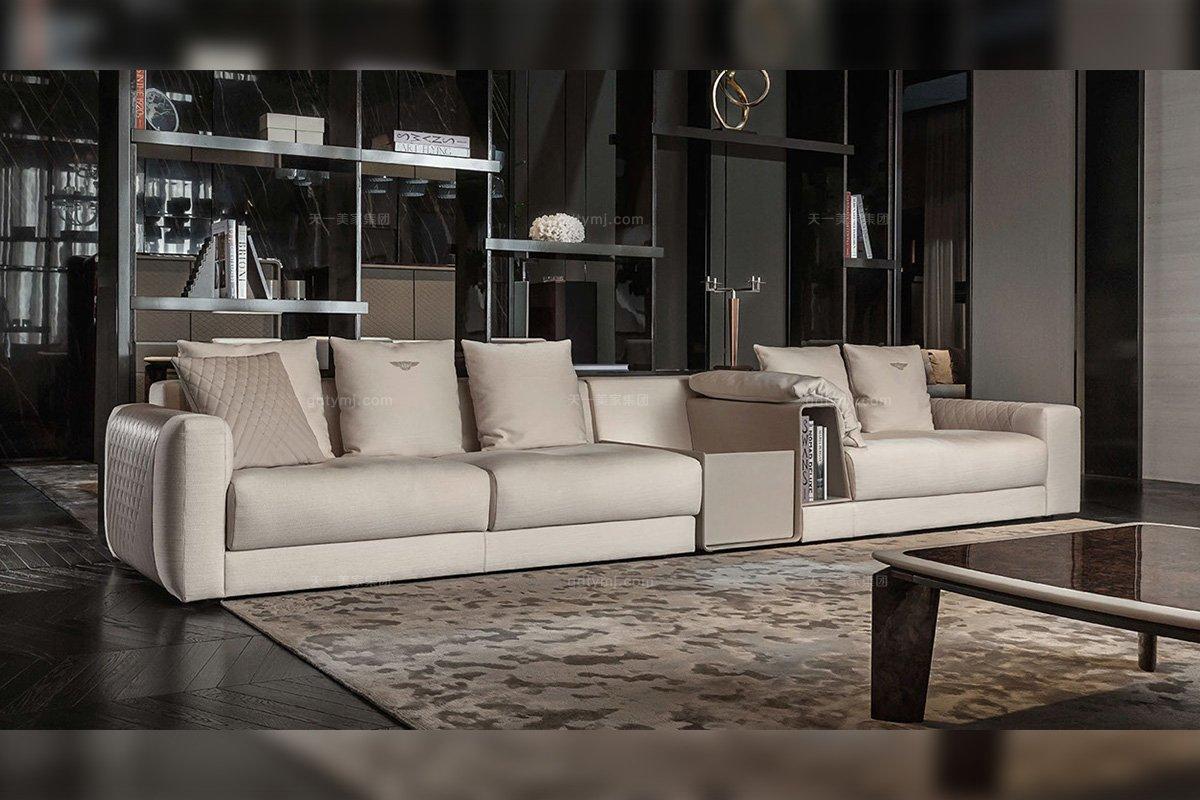 名贵奢华豪宅品牌家居厂家客厅家具米色多人位软包布艺组合沙发