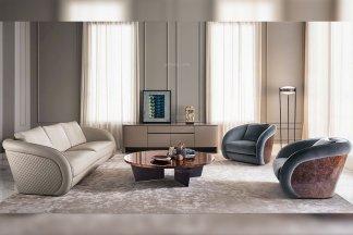国际名贵高端奢华家具品牌客厅家具真皮+绒布艺沙发组合