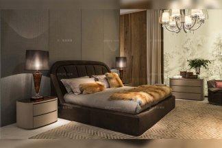 名贵奢华别墅牌家具品牌卧室棕色真皮软包大床组合系列