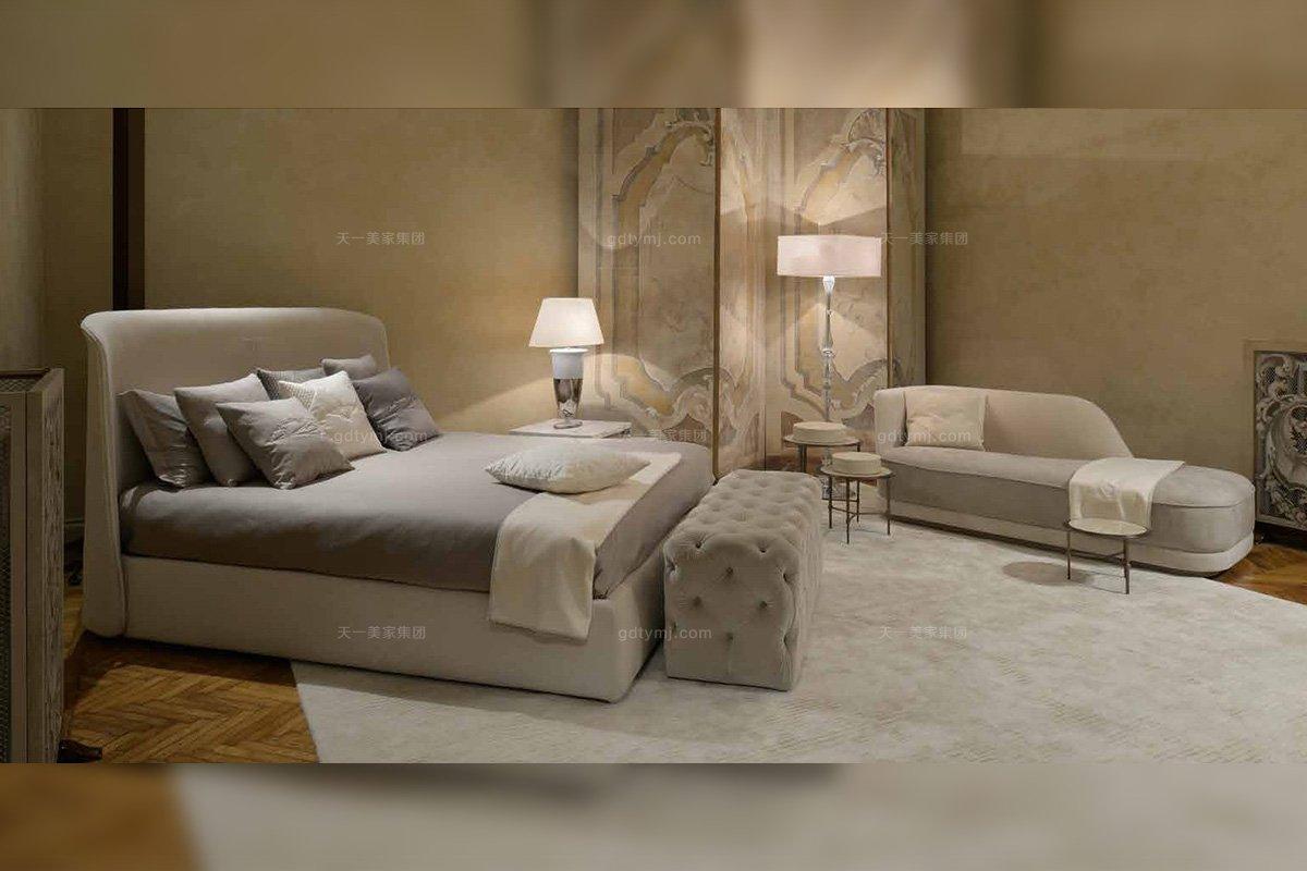 名贵奢华五星级酒店万博手机网页品牌卧室万博手机网页后现代 米色真皮大床组合套装