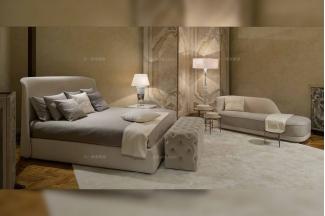 名贵奢华五星级酒店家具品牌卧室家具后现代 米色真皮大床组合套装
