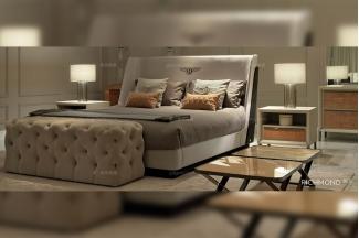 高端别墅豪华家具品牌后现代风米白色软包卧室大床