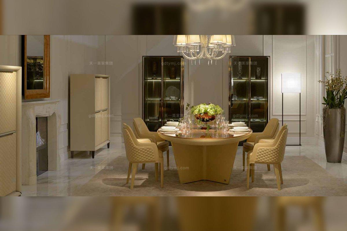 高端奢华别墅豪宅万博手机网页品牌餐厅万博手机网页后现代黄色真皮餐桌+餐椅组合