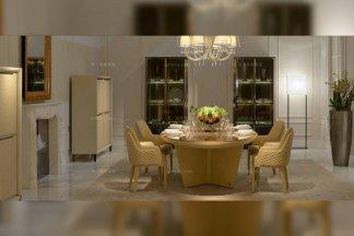 高端奢华别墅豪宅家具品牌餐厅家具后现代黄色真皮餐桌+餐椅组合