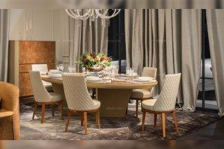 高端奢华别墅会所家具品牌餐厅家具实木真皮餐桌+餐椅组合