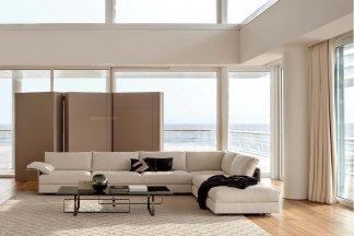 高端别墅客厅优质布艺软包沙发+茶几组合